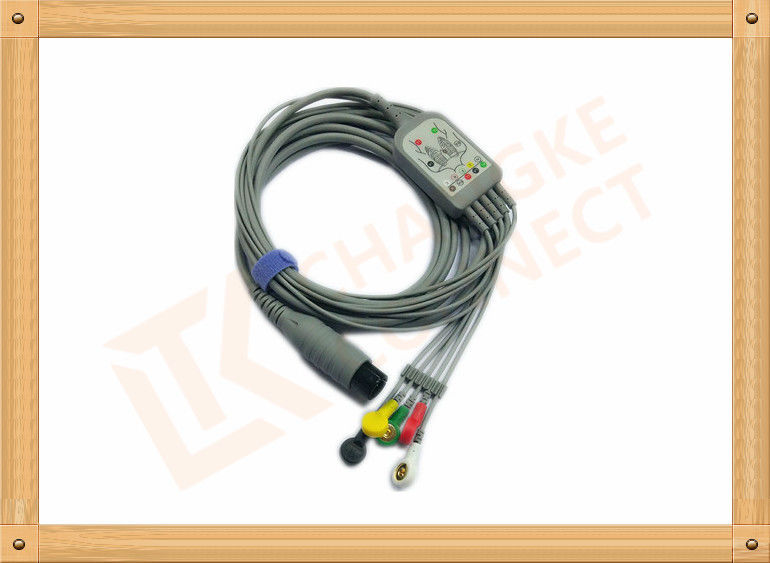 6 Pin One Piece Reusable ECG Patient Cable 5 Lead Defib , PVC Insulation