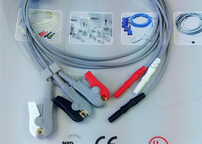Compatible Din Style Safety 3 Lead Ecg Cable , Grabber AHA Ecg Lead Wires